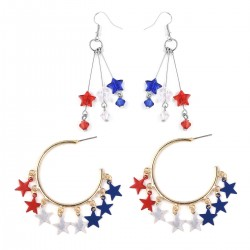 Set of 2 Chroma Patriotic Star Earrings
