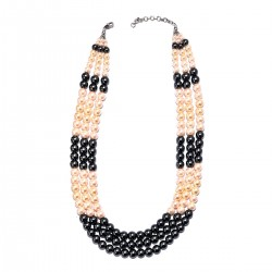 Simulated Multi Color Pearl Multi Strand Necklace