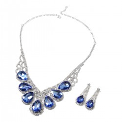 Simulated Blue Sapphire and White Austrian Crystal Earrings and Necklace