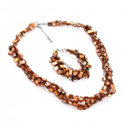 Orange Shell Twisted Bracelet and Necklace