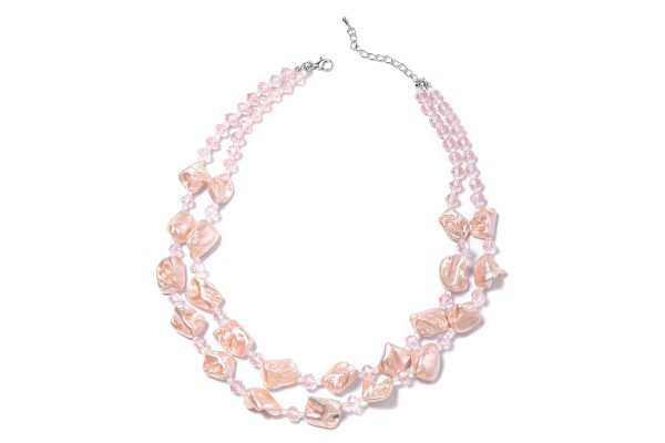 Pink Shell Pearl and Beaded Necklace