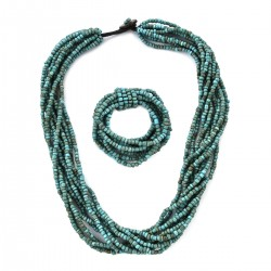 Turquoise Color Seed Beads Multi Strand Stretch Bracelet and Necklace