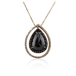 14KT Rose Gold 4.66ctw Black Diamond Pendant with Chain