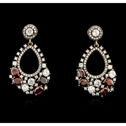 SILVER 10.88ctw Red Crystal and Cubic Zirconia