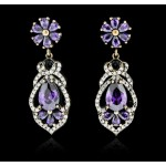 SILVER 17.26ctw Purple Crystal and Cubic Zirconia Earrings