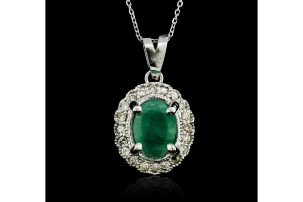 14KT Yellow Gold 1.07ct Emerald and Diamond Pendant