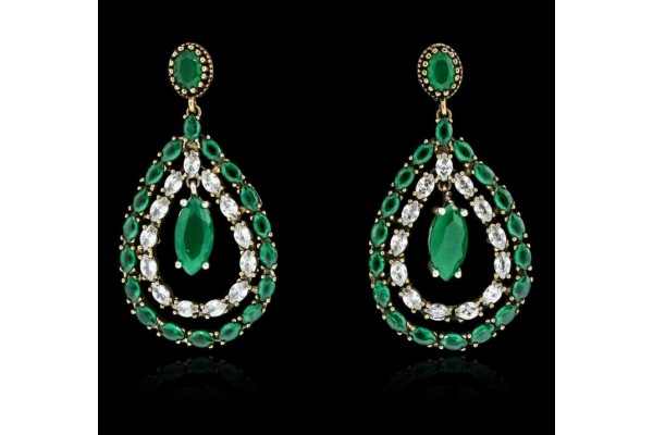 SILVER 29.78ctw Green Crystal and Cubic Zirconia Earrings