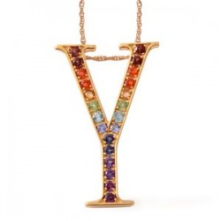 Fire Opal, Multi Gemstone Gold Over Sterling Silver Pendant Y