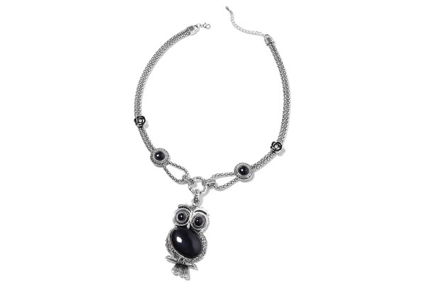 Black Agate and White Austrian Crystal Owl Necklace