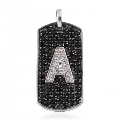 Thai Black Spinel, White Topaz Black Rhodium Sterling Silver Pendant A