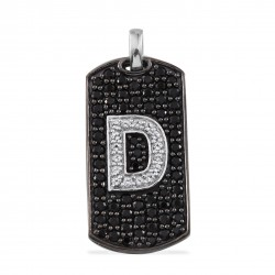Thai Black Spinel, White Topaz Black Rhodium Sterling Silver Pendan D