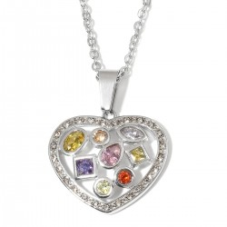 Multi Color Diamond and Austrian Crystal Heart Pendant
