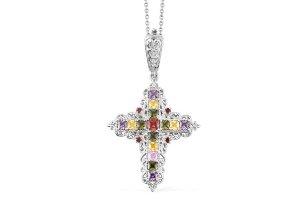 Karis Simulated Multi Color Diamond Cross Pendant Necklace 20 Inch in Platinum Bond Brass and Stainless Steel