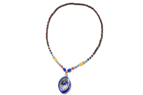 Simulated Blue Cats Eye and Austrian Crystal Necklace