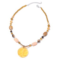 Wooden Jasper and Multi Gemstone Necklace