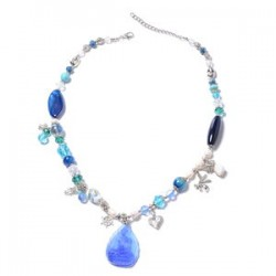 Enhanced Blue Agate and Multi Gemstone Charm Necklace