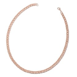 Twisted Curb Necklace in ION Plated Rose Gold Stainless Steel