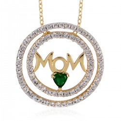 Lab Created Emerald and Lab Created White Sapphire MOM Pendant Necklace 18 Inch in 14K Yellow Gold Over Sterling Silver