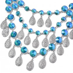 Simulated Blue Magic Quartz and Austrian Crystal Bib Drop Earrings and Necklace