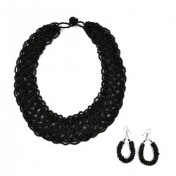 Handcrafted Black Multi Strand Seed Bead Choker Necklace