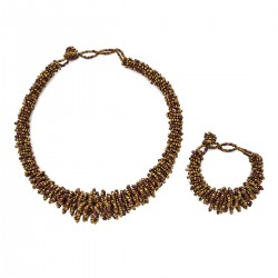 Brown and Golden Seed Bead Bracelet 7.5 Inch and Necklace 18 Inch