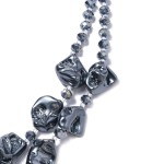 Peacock Shell Pearl and Beaded Necklace 18 inch in Stainless Steel