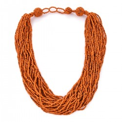 Orange Seed Beads Multi Strand Necklace (22 in)