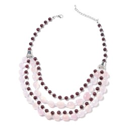 Galilea Rose Quartz and Multi Gemstone Multi Strand Necklace