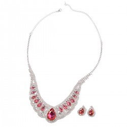 Simulated Red Sapphire and Austrian Crystal Earrings and Necklace