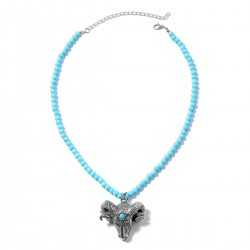 Blue Howlite Goat Head Pendant With Necklace