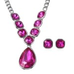Simulated Fuchsia Sapphire Earrings and Necklace 20-22 Inch in Silvertone