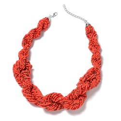 Red Seed Bead Twisted Multi Strand Necklace