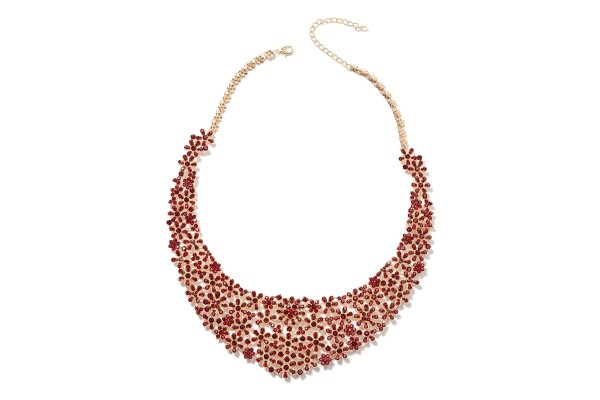 Red Austrian Crystal Floral Bib Necklace 18-20 Inch in Goldtone