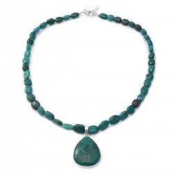 Chrysocolla Necklace 18 Inch in Sterling Silver