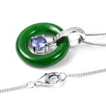 Burmese Green Jade and Multi Gemstone Pendant Necklace 18 Inch in Sterling Silver