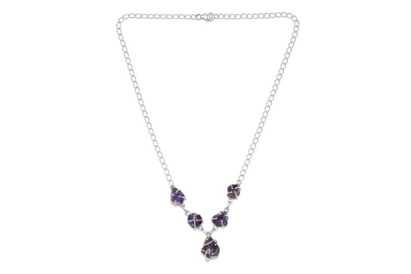 Artisan Crafted  Rough Cut Amethyst Necklace