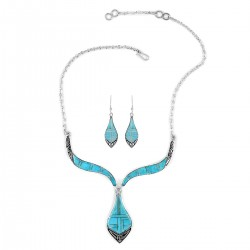 SANTA FE Style  Kingman Turquoise Earrings and Necklace