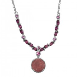 Tanzanian Natronite and Orissa Rhodolite Garnet Necklace 18-20 Inch in Platinum Over Sterling Silver