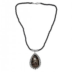 Matrix Silver Shungite and Natural Thai Black Spinel Necklace