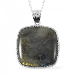 Labradorite Pendant Necklace in Silvertone