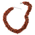 Red Jasper Beads Necklace 18 Inch in Stainless Steel