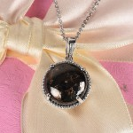 Matrix Silver Shungite Pendant Necklace Copper and Stainless Steel