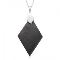 Shungite Pendant Necklace 20 Inch in Platinum Over Sterling Silver
