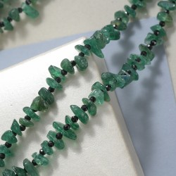 Green Aventurine and Natural Thai Black Spinel Chips & Beads Endless Necklace