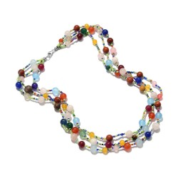 Multi Color Quartzite and Multi Gemstone Necklace