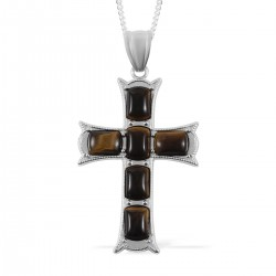 South African Tigers Eye Cross Pendant Necklace
